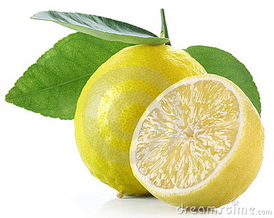 Lemon with slice on a white background