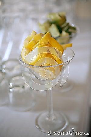 Lemon slices in cocktail glass