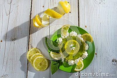 Lemon sour dessert made of jelly