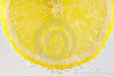 Lemon in sparkling water