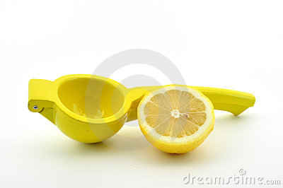 Lemon squeezer with lemon isolated