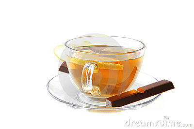 Lemon and tea with chocolate