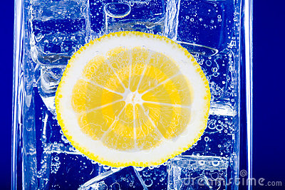 Lemon, water and ice