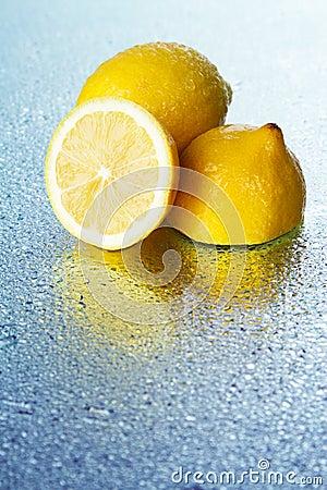Lemon on wet surface