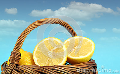 Lemon in wooden basket