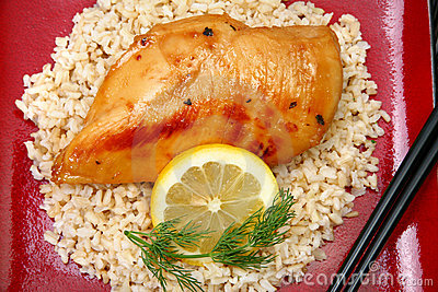 Lemonade Chicken on Brown Rice