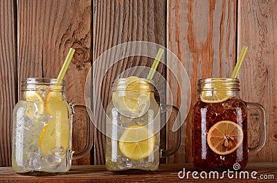 Lemonade and Fruit Juice Glasses on Shelf