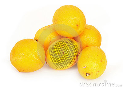 Lemons with bar code