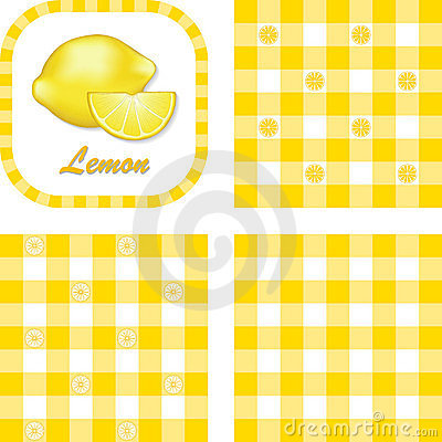 Lemons & Gingham Seamless Patterns