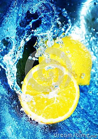 Free Lemons In Blue Water Stock Photos - 1087243