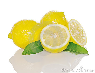 Lemons And Leaves With Reflection Stock Image - Image: 9838761