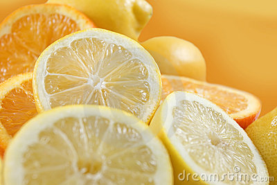 Lemons and oranges fruits