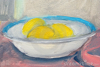 Lemons in plate paintings
