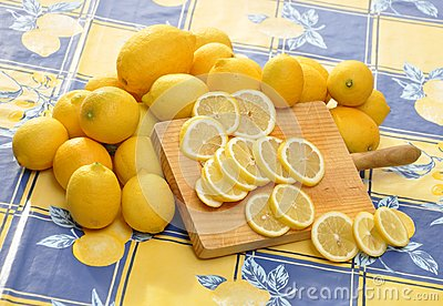 Lemons and Wood Cutting Board