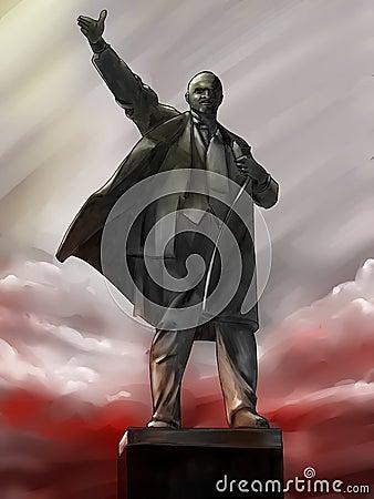 Lenin statue at the dawn