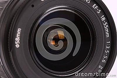 Lens for digital camera on white background