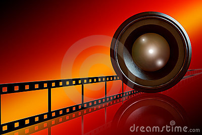 Lens & film strip on red background