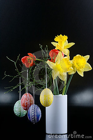 Lent lily, tulip and Easter egg