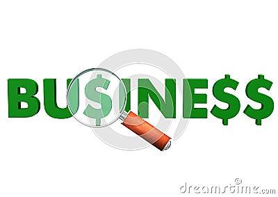 Lente di ingrandimento del dollaro di affari