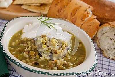 Lentil and cereal soup