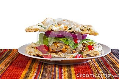 Lentil Turkeyburger on Naan
