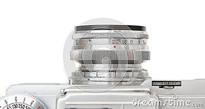 Lentille objective de l appareil-photo de film de cru d isolement