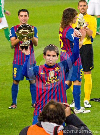 BARCELONA JANUARY 15 Lionel Messi shows his third FIFA World Player