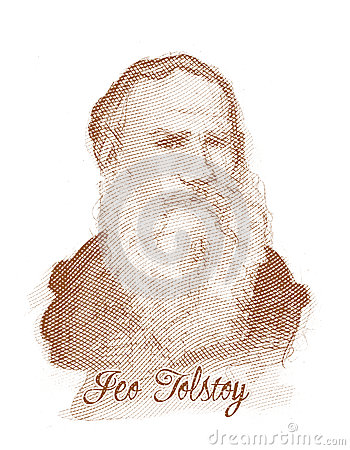 Leo Tolstoy Engraving Style Sketch Portrait Editorial Photo