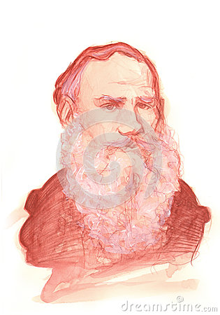 Leo tolstoy watercolour sketch portrait for editorial use
