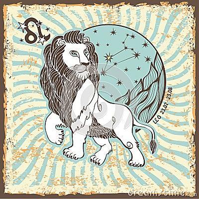 Free Leo Zodiac Sign.Vintage Horoscope Card Stock Images - 40566114