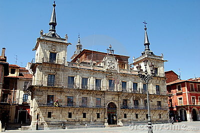 Leon, Spain: City Hall in Plaza Mayor Editorial Image