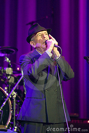 Leonard Cohen performs on stage at Sportarena Editorial Photo