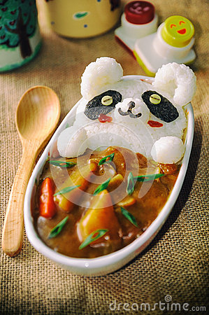 Leopard Cat Onigiri In Japanese Curry Lovely Cute Food
