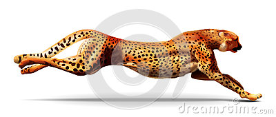 Leopard in a jump. Illustration.