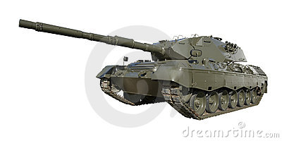 Leopard Military Tank on White