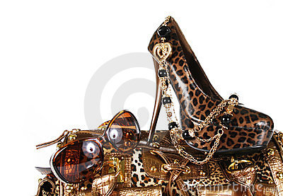 Leopard print accessories: handbag, shoe, sunglass