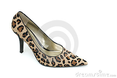 Leopard print high heel shoe