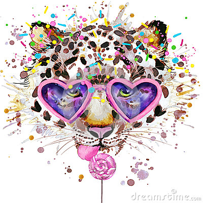 Free Leopard T-shirt Graphics. Leopard Illustration With Splash Watercolor Textured Background. Unusual Illustration Watercolor Leopar Stock Photos - 56343293