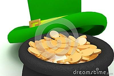 Leprechaun hat pot with coins
