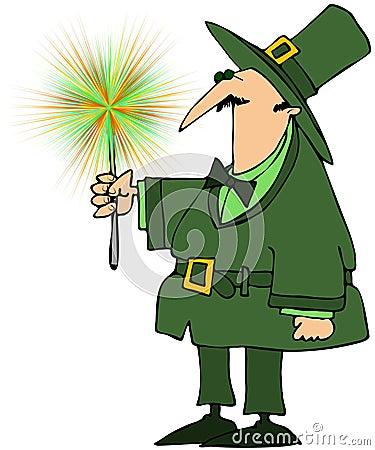 Leprechaun Holding A Green Sparkler