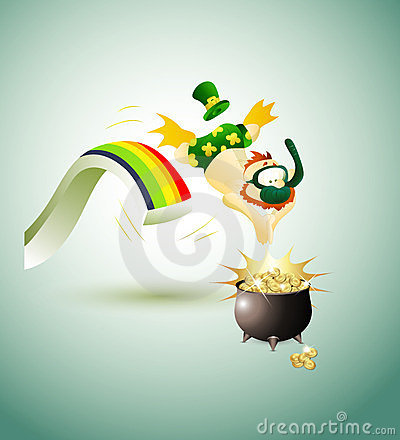 Leprechaun Jumping in Pot of Gold Coins
