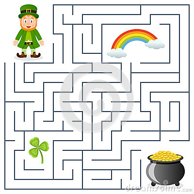St Patricks Or Saint Patrick S Day Maze Game For Children Help The