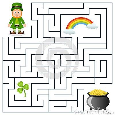 Leprechaun & Pot of Gold Maze for Kids