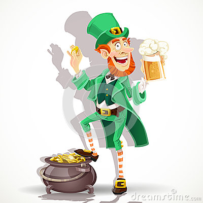Leprechaun protects pot of gold coins