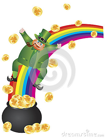 Leprechaun Sliding Down Rainbow