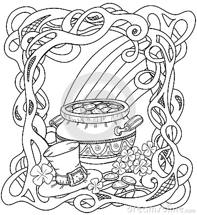 leprechauns gold coloring page with pot of gold rainbow leprechaun hat and clovers