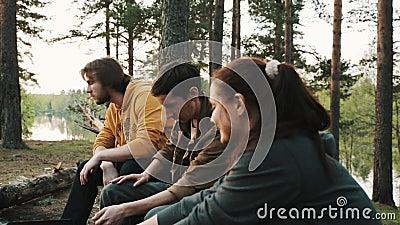 Les amis groupent se reposer sur l'arbre tombé dans la forêt au pique-nique, parlant clips vidéos