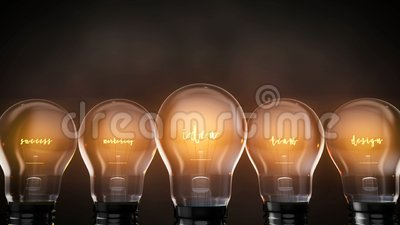Les ampoules lumineuses idée succès équipe de marketing et de conception, brillant les virages électriques clips vidéos
