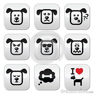 les boutons de chien ont plac heureux triste f ch d 39 isolement sur le blanc illustration. Black Bedroom Furniture Sets. Home Design Ideas