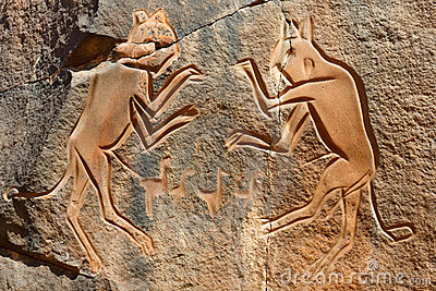 «Les chats de combat» gravant - Wadi Mathendous